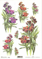 Rice Paper for Decoupage Scrapbooking, Purple Red Flowers A4 ITD R390