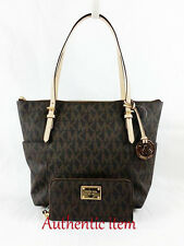 Michael Kors Jet Set EW tote and wallet in PVC Jacquard brown