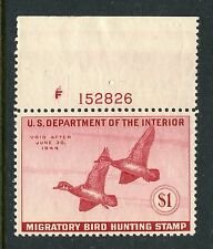 1943 FEDERAL DUCK STAMP with PLATE NUMBER MINT RW10