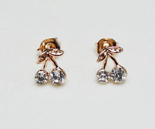 14K/14ct Rose Gold Plated Cute Small Cherry Crystal Stud Earrings Butterfly Back