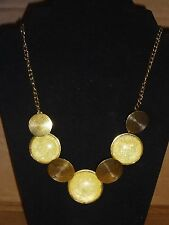 NEW Golden Bronze Bubble Circles Yellow Necklace Big Vintage Costune Jewelry