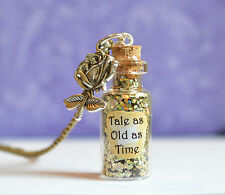 Tale As Old As Time Glass Bottle Pendant Necklace, Inspired Beauty and The Beast