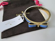 NWT Auth Kate Spade Perfectly Placed Blue Leather Bow Hinged Bangle Bracelet $98