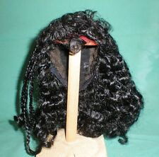 "doll wig/ human hair 11.5 to 12.5"" black, perm with small braids at the side"