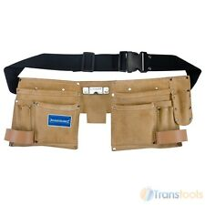 Silverline Suede Leather Double Pouch Tool Belt 11 Pockets Hammer Holder 395015