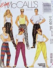 UNISEX EASY MCCALL PATTERN 5409 MISS MENS BOYS TEEN PANTS LOOSE FIT PULL ON MED