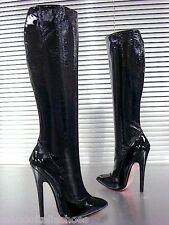 MORI ITALY EXTREME HEEL KNEE HIGH BOOTS STIEFEL STIVALI LEATHER BLACK NERO 37