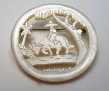 """Vintage Antique Carved Mother of Pearl Brooch Pin C Clasp 1-1/2"""" Round"""