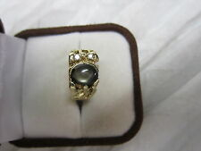 STUNNING ESTATE 14KT GOLD BLACK STAR SAPPHIRE AND DIAMOND RING 8 GRAMS !!!!!!!!!