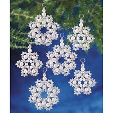 Holiday Beaded Ornament Kit CRYSTAL & PEARL SNOWFLAKES Christmas Ornaments SET12
