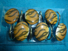 BLACK & GOLD ANIMAL PRINT OVAL SHAPE SHOWER CURTAIN HOOKS, 12 PER BOX, NEW