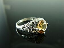 Sterling Silver Antique Style Filigree Ring With Natural Citrine Gemstone 9mm Ri