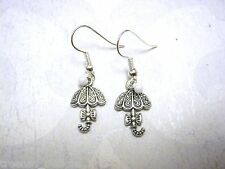 *CUTE UMBRELLA RAINDROP BOW* Silver Plated Earrings Drop ROCKABILLY NEW GIFT BAG