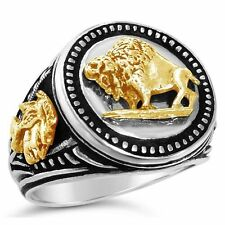 10 Karat Gold American Buffalo Mens Coin ring