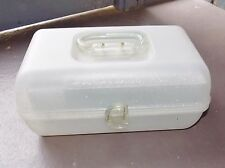 VTG 80s Jellies White Glitter Make-Up Case CABOODLES Caboodle Carrying Case