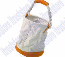Round Canvas & Leather Tool Tote Bag Bucket With Rope Leather Bottom Portable