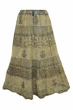 BOHO WOMEN'S PEASANT SKIRT GREEN EMBROIDERED BOHO GYPSY HIPPIE CHIC LONG SKIRTS