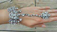 Bracelet with ring chain slave hand an aurora crystals bridal new clear silver