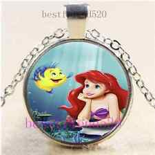 Mermaid And Fish Photo Cabochon Glass Tibet Silver Chain Pendant Necklace#E13