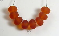 ROA Lampwork 8 Matte Tsp Amber 5x10 mm Handmade USA Spacer Art Glass Beads SRA