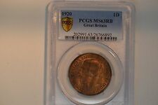 1920 Great Britain- One Penny-  PCGS MS-63 RB.  Lovely!!