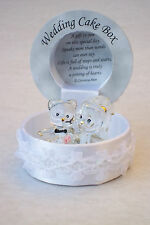 WEDDING CAKE Decor@BRIDE & GROOM Bear Box@22ct Gold@Unique Gift@CUPCAKE Topper