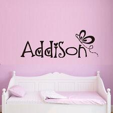 Custom Name Monogram Words Vinyl Wall Sticker Resting Butterfly Decal For Girls