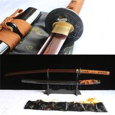 HANDMADE DAMASCUS RED FOLDED STEEL JAPANESE SAMURAI KATANA REAL SWORD FULL TANG.