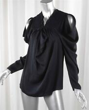 DEREK LAM Womens Black Silk Chiffon Long-Sleeve Blouse Top Shirt US 6 IT 42