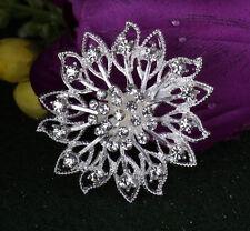 New Wedding Rhinestone Crystal Bridal Flower Bouquet Silver Flower Brooch