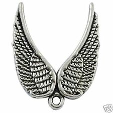 10 Tibetan Silver Double Angel Wing Pendant Charms