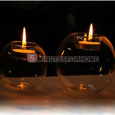 2x Clear Glass Hanging Candle Tea Light Holder Candlestick Wedding Party Decor
