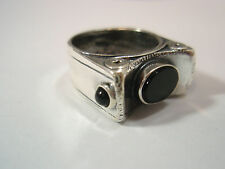 SHABLOOL DIDAE STERLING SILVER & BLACK ONYX RING SIZE 6.5