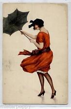 Colpo di vento Donnina Illustratore Italiano Glamour Girl PC Circa 1910
