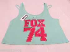Fox Riders Company Juniors Womens M md crop mint tank top shirt Moto surf NWT*^