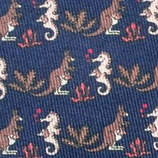 NEW MINT TAG HERMES TIE BOX ~ NAVY BLUE KANGAROOS & SEA HORSES w BABIES POUCH XL