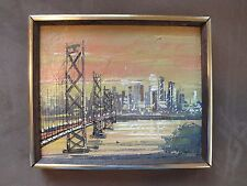 JOHN CHECKLEY San Francisco California original painting CITY Bridge MCM listed