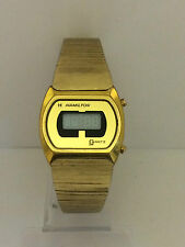 Hamilton 14K gold Electroplated LCD LED Quartz Rare Vintage Watch Colectible