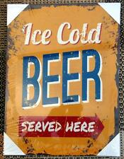 ICE COLD BEER NOVELTY YELLOW CANVAS PRINT IDEAL MAN CAVE PRESENT 40CM X 30CM