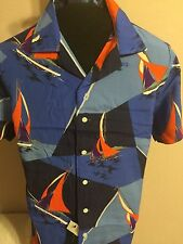 NWT Polo Ralph Lauren Custom Fit Blue Hawaiian Sailing Regatta Camp Shirt Large