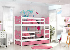 MAX BUNK BED KIDS CHILDRENS WITH FREE MATTRESSES  WHITE/PINK