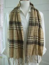 "Scarf Shawl Cashmink by V.Frass Beige Brown Plaid w Fringe Super Soft 11"" x 58"""