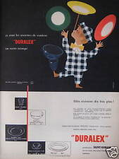 PUBLICITÉ 1958 ASSIETTES DE COULEUR DURALEX DE SAINT-GOBAIN - ADVERTISING