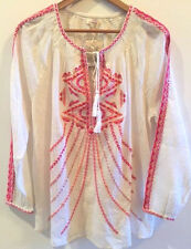 SUNDANCE CATALOG Lotus Roots Embroidered Pink Tunic SMALL Orig. $98 NWT!