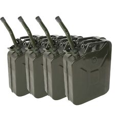 4pcs Military Style Green Jerry Can Fuel Gas Steel Tank 20L 5Gallon w/ Spout New