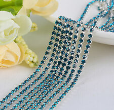 2mm Cystal Rhinestone Close Cup Chain Trimming Claw Chain Peacock blue 1yd