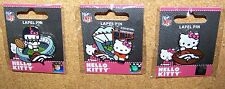 Three Denver Broncos Hello Kitty lapel pins NFL pin kickoff fan football