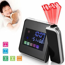 LCD Digital Time Projector Snooze Colorful LED Temperature Weather Alarm Clock