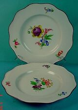 PAIR ANTIQUE GERMAN MEISSEN PORCELAIN DINNER PLATES with FLOWERS & WAVY RIMS #2
