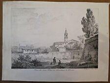 Lithographie, incunable, Vue de San Pietro in Montorio Rome, C.Bourgeois, 1817.